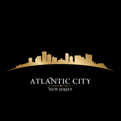 Wall Mural - Atlantic city New Jersey skyline silhouette black background