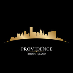 Providence Rhode Island city silhouette black background