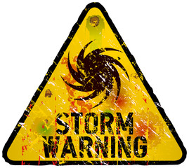 storm warning sign, heavy weathered, vector eps 10