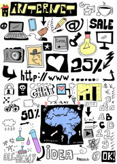 Doodle design elements, hand drawn illustration internet
