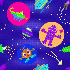 space for children pattern,  pixel ART