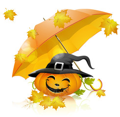 Pumpkin under a yellow umbrella, falling leaves, halloween
