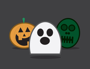 Three halloween characters. Ghost pumpkin and zombie.