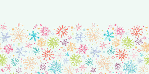 vector Colorful Doodle Snowflakes Horizontal Seamless Pattern