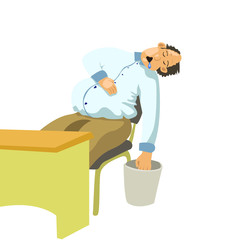 illustration of office worker slipping at chair