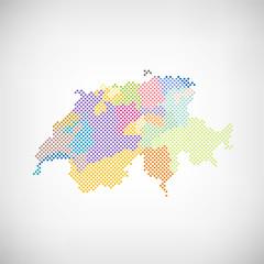 Schweiz Kantone Karte Punkte