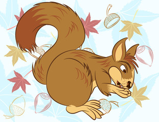 Fun zoo. Illustration vector of cute squirrel with acorn