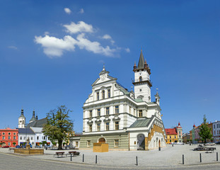 The main square and town hall in Unicov, Moravia, Czech Republic