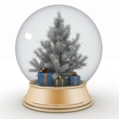Snow ball with Christmas tree and presents