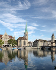 Zurich, Lady Minster, Stadthaus and St. Peter Church