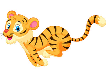 Cute tiger cartoon running