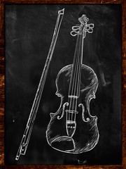 Violin Drawing Sketch on blackboard