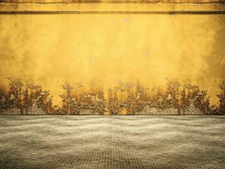 Empty Yellow Rusty Steel Room