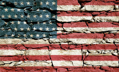 Texture of stone wall with a picture of an American flag.