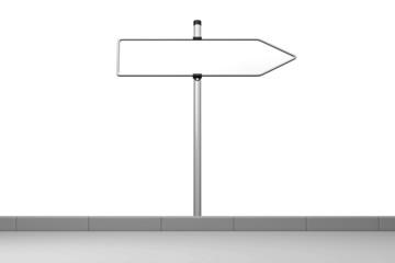 leeres Straßenschild zeigt nach rechts