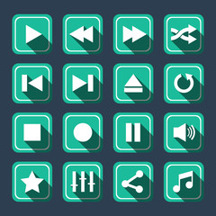 Emerald Multimedia Vector Icons With Long Shadow