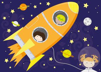 Children in rocket - vector illustration