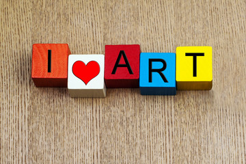 I Love Art  - sign for education, art and culture