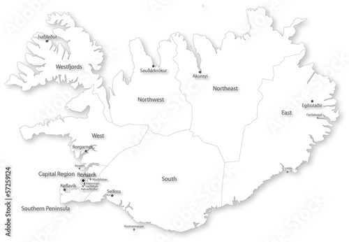 Simple vector map of Iceland with regions & cities\