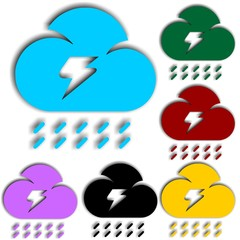 Clouds With Lightning single flat icon. Vector illustration.