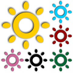 Sun colorful icons. Vector illustration.