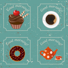Illustration - Retro illustration with tea, donut and a cup of c