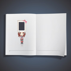 Girl with Santa Claus costume holding a empty frame