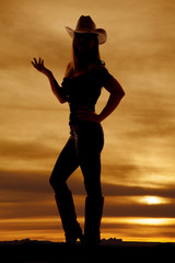 silhouette woman cowgirlhand fingers