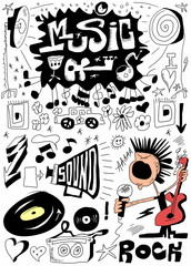 Doodle music, hand drawn design elements