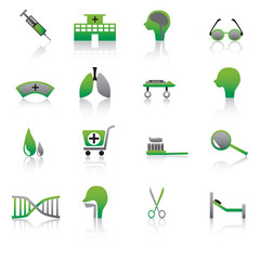 Green Medical Icons Vector Illustration.