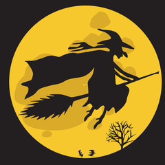 Halloween witch vector illustration.