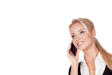 Portrait of happy smiling young businesswoman with phone