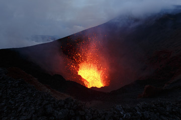 Poster Volcano Eruption Tolbachik Volcano. Kamchatka