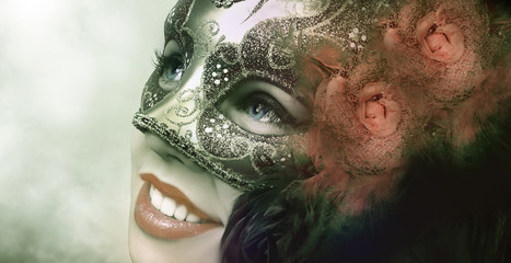 Close up portrait of woman in green mask