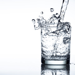 Water has a high speed and come out of the cup