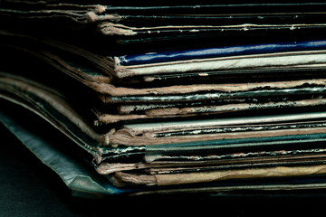Close up of old vinyls