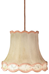 Vintage weathered lampshade with cord isolated on white