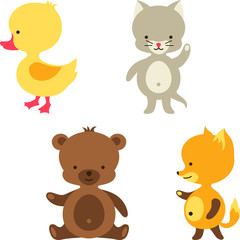Little cute baby cat, bear, fox and duck.