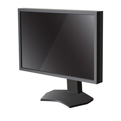 Black lcd tv  monitor on white background. Vector illustration