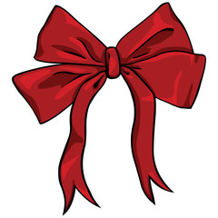 vector cartoon red bow