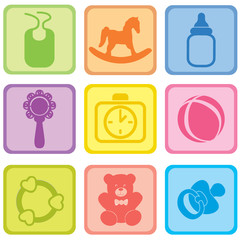 Baby care symbol set. Toys and accessories for babies