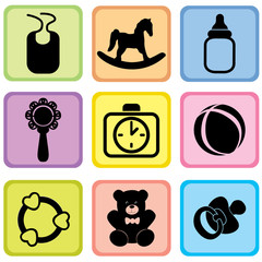 Baby care set. Vector illustration of baby icons.