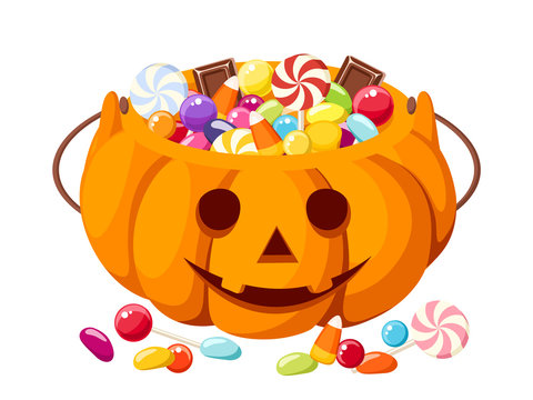 Halloween candies in Jack-O-Lantern bag. Vector illustration.