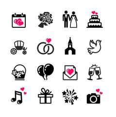 16 web icons set - Wedding, marriage, bridal