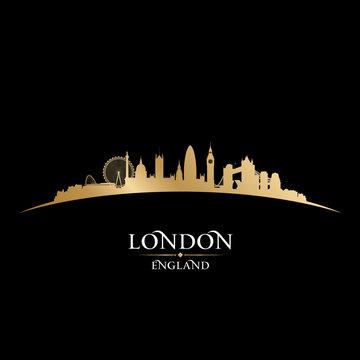 London England city skyline silhouette black background