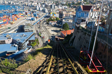 Valparaiso-Chile-View from the funicular railway to the port