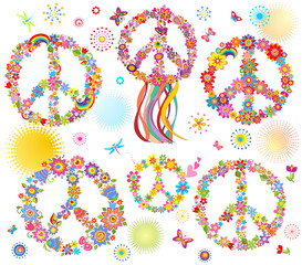 Collection of Peace flower symbol