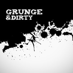 Abstract black grunge ink splats background