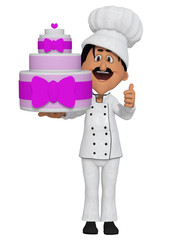 Baker with a cake, 3d