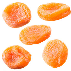 Dried apricots set isolated on white background.